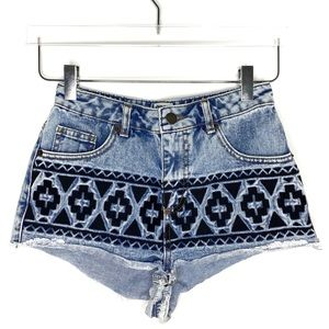 ASOS | Embroidered Hi Rise Denim Shorts